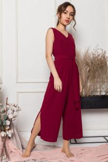 Olivia Sash Tie Jumpsuit in Brick Red